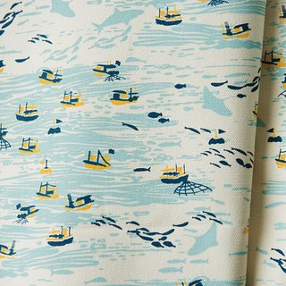 Hand-Printed Cotton Canvas - 400/y / Boats / Vanilla Butter