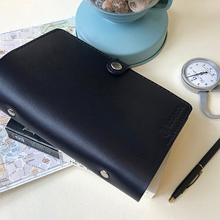 Logbook A6 Navy Blue Six Hole Loose-leaf Leather Pocket Book Cover Notes
