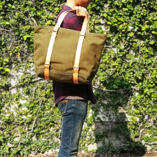 Mens Canvas & Leather Tote Bag / Mens Work Bag / Zipper 4 Pockets 2 Pencil Slots