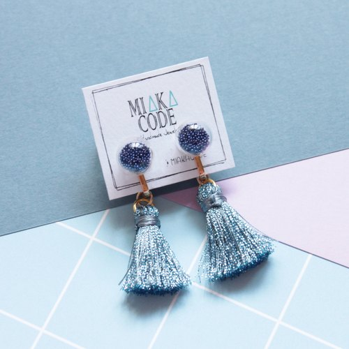 10mm Glass bubble earrings/ear-clips with mixed colour tassels (Royal blue)