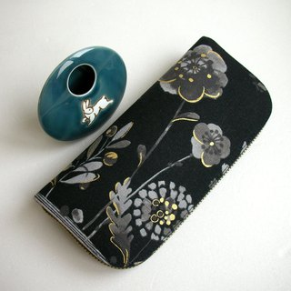 "Sprinkle ink, cotton, cotton and linen, ""black gold"" - long clip / wallet / purse / gift"