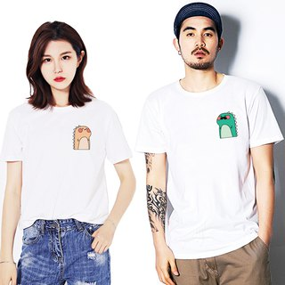 Male Dino Female Dino couple white t shirt