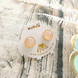 HUKUROU Simple Natural Stone Earrings - Pink Gold