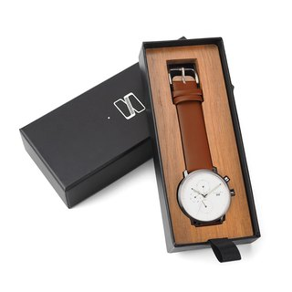 Minimal Watches : MONOCHROME CLASSIC - PEARL/LEATHER (Brown)