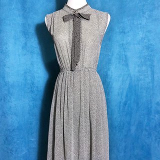 Double collar chiffon sleeveless vintage dress / Bring back VINTAGE abroad