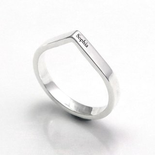 Custom-made lettering Raindrops Drop-shaped 925 Silver Ring - 64DESIGN