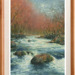 Oil painting original picture Oirase stream