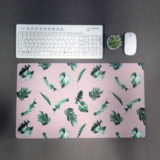 Pink Desk Mat Botanic Pattern Pad Desk Accessories