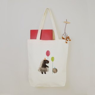 [party animal] small hedgehog canvas tote bag