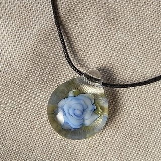 Rose Pendant Blue Glass Handmade