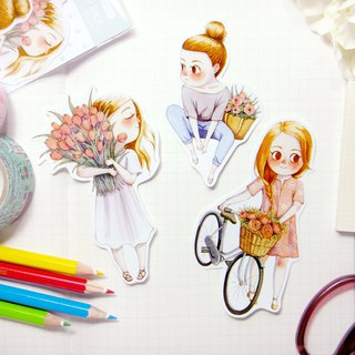 Spring Girls Sticker Pack (A) - Illustrated Watercolor Stickers