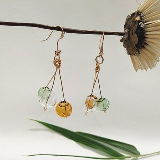 Mint green transparent ball earrings