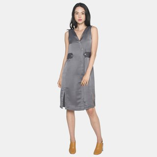 Belted Shift Dress with slits (Grey)