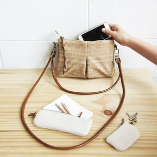 Natural-Tan Cross-body and Shoulder Mini Skirt Bags Size S Botanical Dyed Cotton