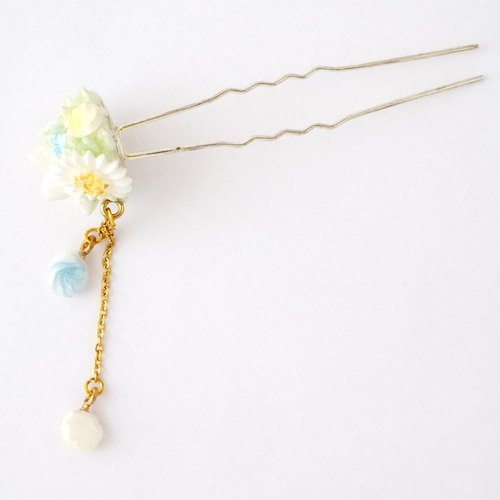 =Flower Piping= Flower Ball Hair Pin Customizable #HB001