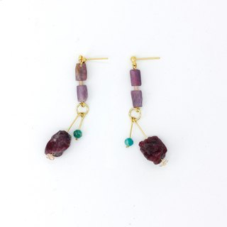 Mysterious magenta purple tourmaline original stone earrings - plated with 22k auroras in sterling silver