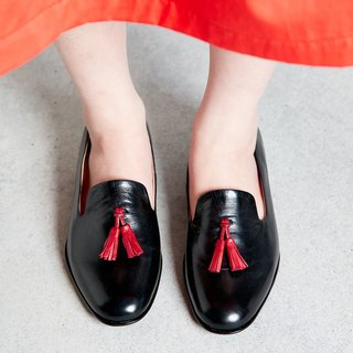 H THREE Fringe Loafers / Black / Flat / Loafer