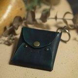 【迢迢tiaotiao】零錢方包-漩渦藍/義大利植鞣皮/手工限量製作/零錢包/藍色/