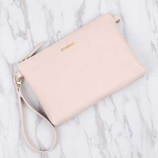 Cute and Portable Design Light Pink Color PU Faux Leather Day Bag Zipper Pouch