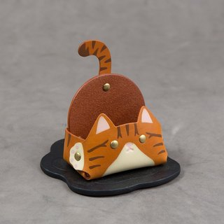 Animal Series - Business Card Holder / Mobile Phone Holder (Narrow Edition - Orange Tabby Cat)