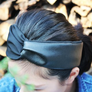 Bright black | leather stitching. Lazy handmade elastic hair band