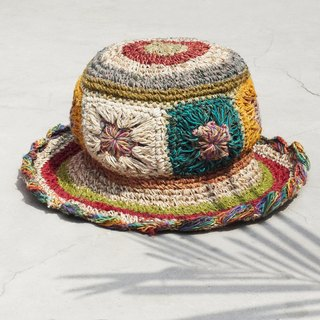 Limited edition handmade knitted cotton hood / weaving hat / fisherman hat / straw hat / sun hat / hook hat - bright color gradient forest flower weaving