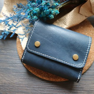 Chuang Chuang Small Room | Marine Blue Spelling Vegetable Tanned Leather Hand-sewn Multilayer Wallet Wallet