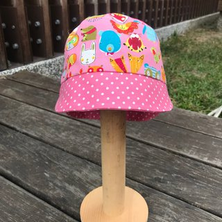 Colorful animals - pink - hand-made double-sided hat