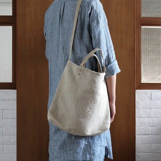 Linen AlphaBAG customized letter hand craft linen 2-way bag