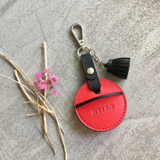 KAKU handmade leather gogoro key leather case activity shackle + small tassel red