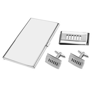 Stainless Steel Cut Out Stripes Cufflinks Money Clip and Card Holder Sets