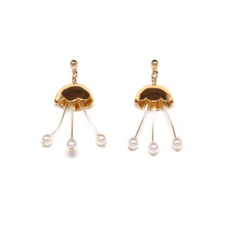 flower fish - gold bead pierced earrings