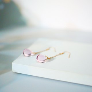 Minimal Pink Glaze Water Dropped 18K Rose Gold Earrings