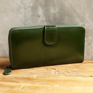 Leather Wallet - Zip Around Plus - Dark Green(Genuine Cow Leather)/ Long Wallet
