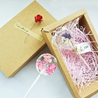 Flowers Crystal Lollipop - Box of 2 - Valentine's Day Gift/Birthday Present/New Year Gift