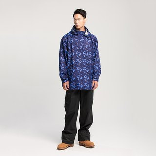 HisBlaze neutral half-open waterproof jacket [camouflage blue] + extended raincoats rain pants [black] (discount group)