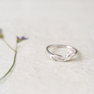 Pink tulip ring silver 925