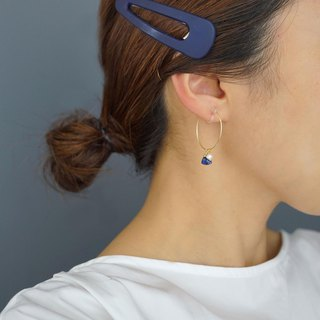 【14 KGF】 14 kgf natural stone hoop earrings 【lapis lazuli】