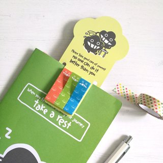 Green bookmark with memo notes
