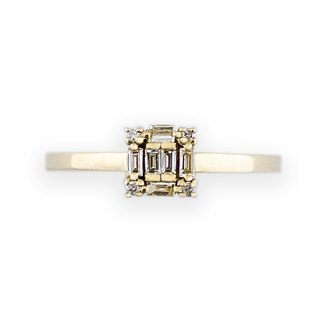 JewCas Carre series 10K gold diamond ring (gold color) _BJC7080d-G