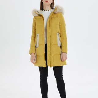 [Spot] 2018 new development of new hooded down jacket ダウン - light yellow ribbon