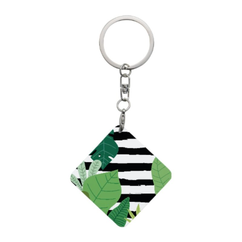 Square Shaped Metal Keychain