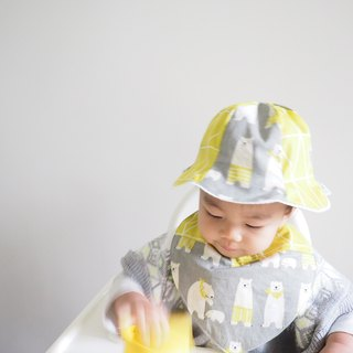 Handmade polar bear pattern baby/ kid bib and hat set