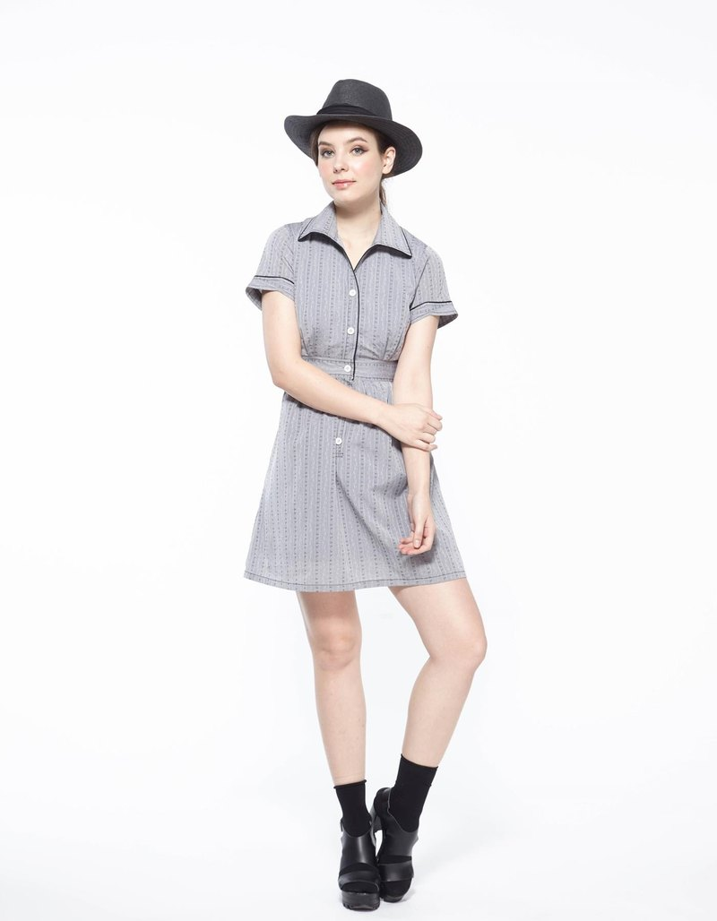 Trim collar print dress - black and gray embroidery patterns