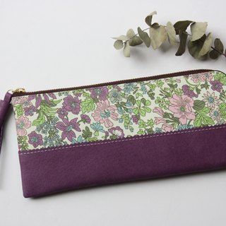 Liberty print × genuine leather wallet violet