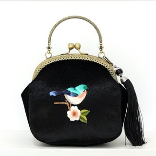On the new first 50% off) mouth gold package cheongsam bag Messenger bag embroidery bird iphone phone bag mobile phone bag oblique bag bag bag birthday gift black