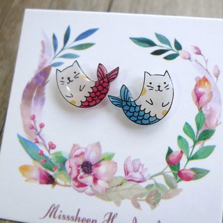 Misssheep-U54 Red and Blue Cat Mermaid Handmade Earrings (ear pin/ear clip)