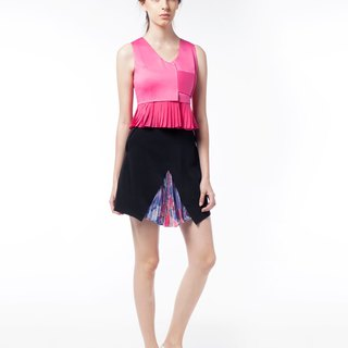 Glancez Pink Pleat Vest With Silver Button