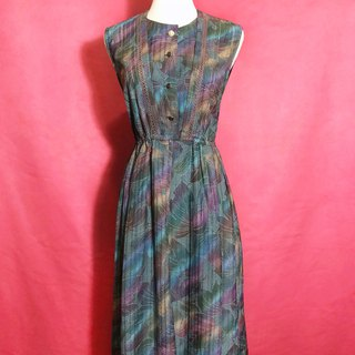 Neon flower textured sleeveless vintage dress / abroad brought back VINTAGE