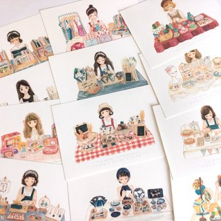 Flea Market Postcard Set 12pcs